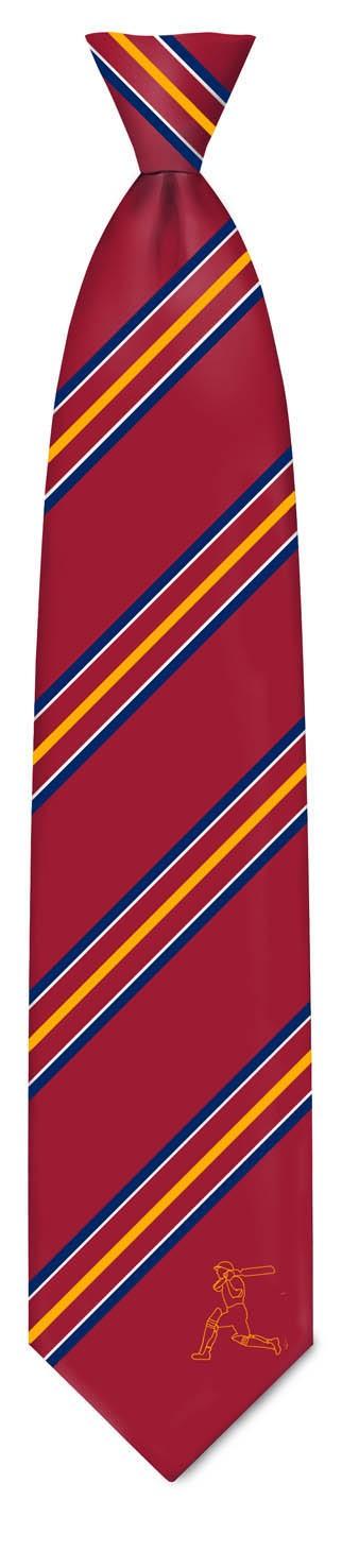 TIE - Maroon/Blue Gold Striped Silk Tie