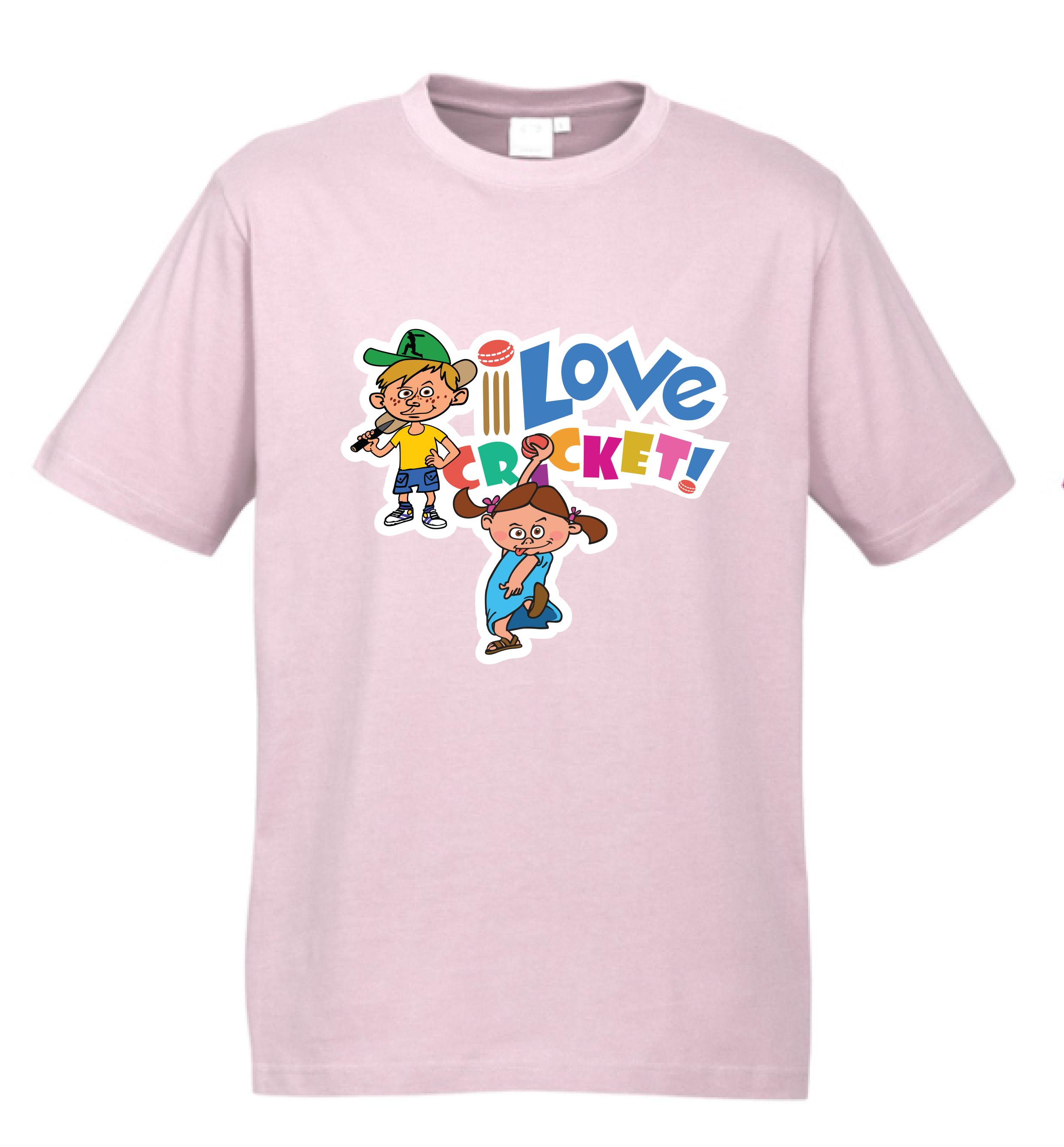 T-shirt - 'I Love Cricket' Light Pink