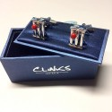 Cricket Cufflinks - Silver Stumps and Red Ball