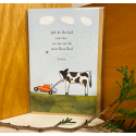 Red Tractor - Milky Does the Mowing Greeting Card